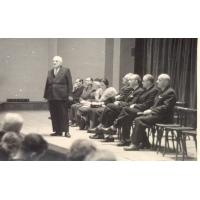 10-lecie Państwowej Wyższej Szkoły Muzycznej, Roman Heising pierwszy z prawej 17.11.1957 r.