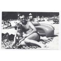 Jerzy Nowakowski z synem Rafałem, Sopot 1972 r.
