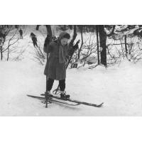 Nauka na nartach. Przemek Pragert na Łysej Górze, Sopot 1958 - 1959 r.